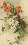 GOM 1808 fleurs de lys oranges, edelweiss blanches et fleurs violettes