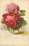 Jounok 173 [vase en verre rond avec 1 rose rouge, 1 rose rose et 1 bouton rouge]