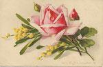 Jounok 178 [rose rose, boutons rouge et vert, mimosas jaune]
