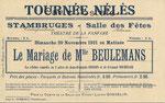 Stambruges !!! Impression au verso d'une carte postale de Belgique, d'une représentation théâtrale !!!