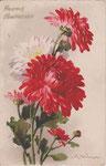 Jounok 176 [2 crysanthèmes rouges et 1 blanche, boutons - vertical]