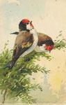 Jounok 231 [2 oiseaux à tête rouge sur branche à feuilles vertes]