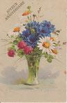 HWB 2237 Vase en verre, 3 pivoines rouges, 4 marguerites, bleuets