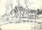 Ath Pels Le Vieux Ath, dessin de Pels      [étang, maisons et église ]