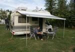 Recht geschafft auf dem Camping in Erdine