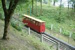 Rauf mit der Standseilbahn auf Aleksotas-Hügel. Ein Schweizer Produkt.