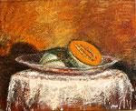 Melon, encaustique sur panneau de bois de 24 x 30