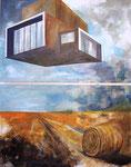 Freies Feld, Diptychon, 200 x 160 cm,  Acryl auf Leinwand, 2016/2017.