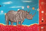 Lone Rhino - 130 x 100cm