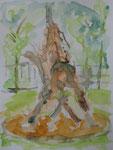 Fischbrunnen am Kaiser-Wilhelm-Ring in köln, aquarell auf papier, 32x24 cm