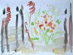 derek jarmans garden I, aquarell auf papier, 30x40 cm