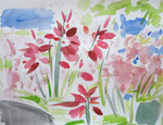 english garden flowers, aquarell auf papier, 36x48 cm