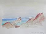bucht von calpe (E), aquarell auf papier, 30x40 cm