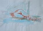 akt nr. 12, aquarell+stift auf papier, 30x40 cm