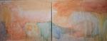 sahararegen, acryl auf leinwand, 80x200 cm (2-teilig)