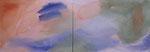stille am fluss, acryl auf leinwand, 50x140 cm (2-teilig)