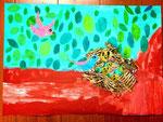 鳥の巣 コラージュ画 小1作品