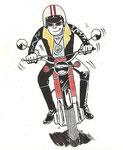Rétrospective : Autoportrait de Picou en 1971 avec sa 1ère moto
