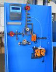 Automatische Absalzanlagen, kompakte Standkonsole mit integrierter Auffangwanne für Chemiekanister, Anschlußmöglichkeit für Abflammrohr (mikrobiologische Untersuchung des Kühlwassers)