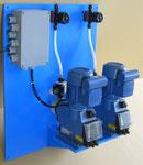 Kompakt-Dosier-Wandkonsole mit Klemmkasten, Optionen Absperrarmaturen, Mehrfunktionsventile, Durchflußmessung, etc.