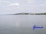 P4250317 Blick über die Donau vom Fährhafen Vidin in Bulgarien nach  Calafat in Jugoslavien