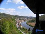 P4110106 Blick vom Turm  der Hinterburg auf Neckarsteinach  im Hessischen Neckartal