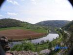 P4110104 Blick vom  Turm  der Hinterburg auf den Neckar unterhalb von Neckarsteinach  im Hessischen Neckartal