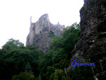 """2-211-P8210005 Die Burg Bosselstein, auch """"Burg Stein"""" oder """"Altes Schloss"""", ist eine Burgruine über dem oberen Stadtteil Oberstein von Idar-Oberstein im Landkreis Birkenfeld im Hunsrück."""