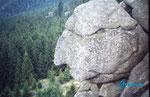 """PICT0060 Auf der Kästeklippe. Die Kästeklippe liegt im Harz auf den Huthberg  oberhalb das Okertales. Hier der """"Alte vom Berge"""". Eine Felsbildung, die das Gesicht eines alten Mannes ähnelt und hinunter ins Okertal blickt."""