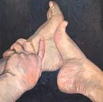 Hand und Fuß  40 x 40 x 2 cm