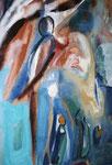 Spiegelwelten 2 Ausschnitt 12 ©  Nathalie Arun, Öl, Dispersion, 3 x 2 m auf Leinwand