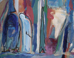 Spiegelwelten 2 Ausschnitt 1 ©  Nathalie Arun, Öl, Dispersion, 3 x 2 m auf Leinwand