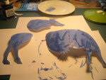 All three parts painted blue (they will warp, but flatten when dry).
