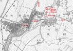 道標の推定位置(明治26年帝国陸軍陸地測量部作成)