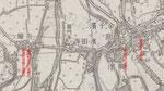 道標の推定位置、明治31年陸軍陸地測量部作成5万分の1