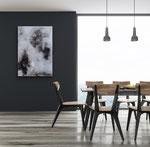 Acryl mit Asche  100 x 70 cm  Wohnbeispiel