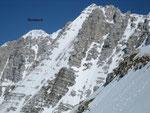 Im Westen erhebt sich der Montasch (links). In der Flanke in der Bildmitte kann man 2 Bergsteiger erkennen