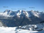 Gegenüber erheben sich der Montasch (2753m), Terrarossa (2420m), Foronon del Buiz (2531m) und Wischberg (2666m)