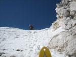 Nach 800 Höhenmetern durch die Rinne liegt der Ausstieg -gleichzeitig auch die steilste Stelle- zum Greifen nahe