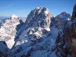 Von links nach rechts: Grande Nabois (2313m), Sella Nabois (1970m), Wischberg (2666m), Mosesscharte (2271m) und Kastreinspitzen (2502m):