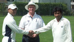 Swiss cricket 2010 - l-r: Wicky (Nomads CC), Alex Mackay (umpire), Mubarak (PWCC)