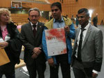 With the President of Geneva — with Hafeez Raja and Jayarathne Sudath at Salle Du Pommier