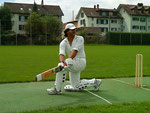 Swiss cricket 2010 - Ashfaq (PWCC) demonstrates the sweep