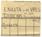 Briefje verstuurd door Sikke Nauta  op 09-09-1945 vanuit het kamp Tjimahi 6  aan Egberdina Nauta - de Vries in kamp Tjideng.