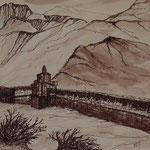 Manimauer in Gemi, 19x19, Tusche auf Papier