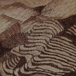 Terrassenlandschaft in Langtang, 19x19, Tusche auf Papier
