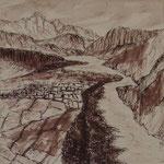 Flußtal Kali Gandaki, 19x19, Tusche auf Papier