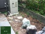 中庭の施工前です。草がよく伸びている状態でした。