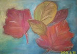 Herbstblätter 30 cm x 42 cm auf Papier