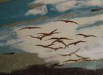Envolée d'oiseaux (80x 60 cm) .  marqueterie contemporaine  . 1250€